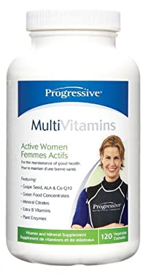 Progressive Multiple Vitamins and Minerals for Adult ACTIVE WOMEN - 120 Capsules