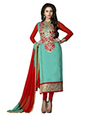 Prafful Sky Blue Chanderi Cotton Embroidered Unstitched Dress Material