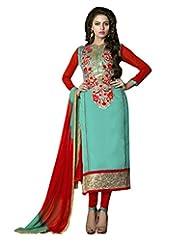 Prafful Sky Blue Chanderi Cotton Embroidered Unstitched Dress Material