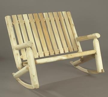 """46"""" Natural Cedar Log-Style Outdoor Wooden Double High-Back Rocking Chair front-736194"""