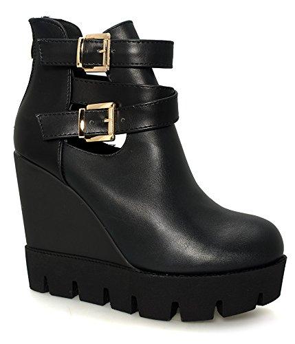 Alx Trend scarpe da donna Tronchetti con zeppa Rossy - Nero-38