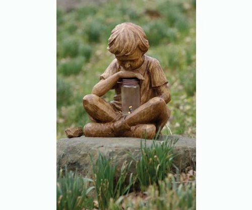 Image of Boy with Firefly Garden Statue