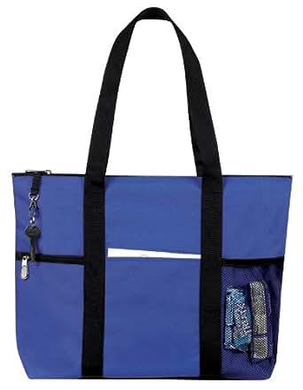 Zipper Travel Tote Sports Gym Bag, Royal Blue