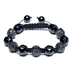 Bling Jewelry Shamballa Inspired Bracelet Black Onyx Crystal Black Beads Unisex 12mm