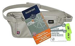 Travel Wallet Money Belt - Lewis N Clark RFID Waist Stash, (1) RFID Passport Shield and (2) Credit Card RFID sleeves