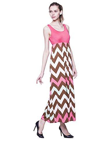Mellow Judys Women Tank T Skirt Striped Maxi Dress Red Medium