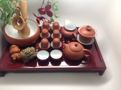 Yixing Tea Set With A Tea Tray Large Set With Red Purple Beautiful Set