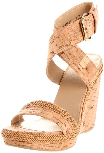 Stuart Weitzman Women's Wraptor Wedge Sandal,Natural Cork,6 M US