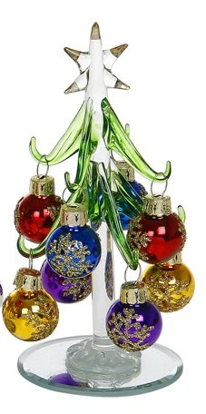 Beautiful, small, glass Christmas Tree, decorated with coloured, glittered baubles. An ideal, fun, Christmas gift or decoration for the home, or desk top (1230C).