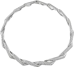 18K White Gold 10-3/4 ctw Diamond Swirl Necklace G-H-I,I1