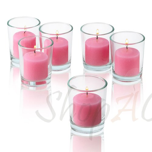 10 Hour Soft Pink Unscented Votive Candles With Clear Glass Holders Set Of 24