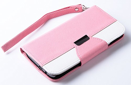 Mylife Light Rose Pink And Bright White {Classic Fashion Design} Faux Leather (Card, Cash And Id Holder + Magnetic Closing) Slim Wallet For The All-New Htc One M8 Android Smartphone - Aka, 2Nd Gen Htc One (External Textured Synthetic Leather With Magnetic