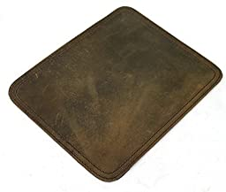 V.T. Cowhide Full Leather Stationary Mouse Pad Collection L743. Dark Distress
