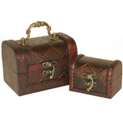 set-of-2-decorative-rustic-wooden-colonial-style-diamond-checked-pirate-treasure-chest-trinket-boxes