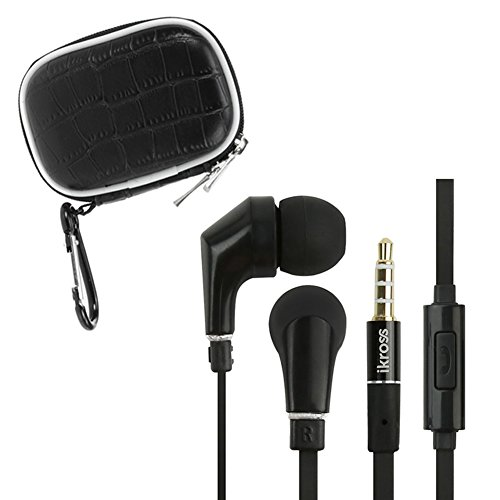 Ikross 3.5Mm Handsfree Headset + Black Small Accessories Carrying Storage Eva Case For Samsung Galaxy Note Iii / Note 3 / Galaxy S5 S Iv / Galaxy Mega And More