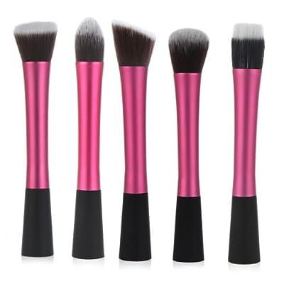 LyDia UK STOCK Professional 5pcs Hot Red Pink flat top foundation/angled blusher/face powder/stippling/face contour makeup brush set