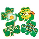 Pkgd St Patrick s Day Shamrock Cutouts Party Accessory (1 count) (4 Pkg)