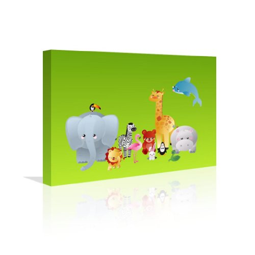 Animals Canvas 20 X 12 24 X 16 Wall Art Fun Baby Shower Present Learning Gift Kids front-836605
