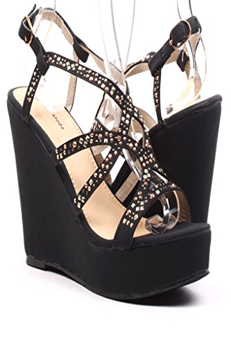 Lolli Couture Jeweled Strappy Peep Toe Wedges 5 Black front-885554