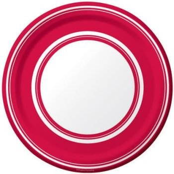 Classic Red Stripe Oval Banquet Plates