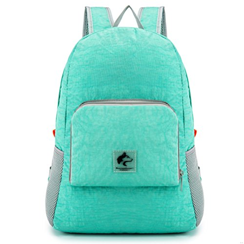 Boundless Voyage Outdoor Nylon Ultralight Folding portable Backpack Hiking Daypack 14L Green