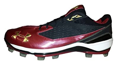 Under Armour Natural II Low Team TPU Mens Molded Baseball Cleats (Black Cardinal) by Under Armour