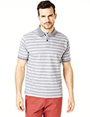 North Coast Pure Cotton Double Striped Polo Shirt