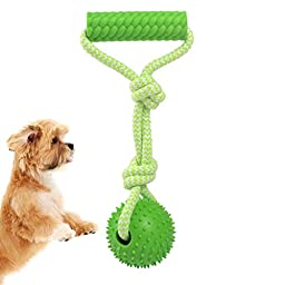 Mdeho Pet Toys Dog IQ Treating Safe Durable Rubber Throwing Ball Toy with Roll Dog Toy