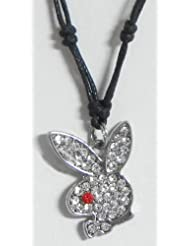 Stone Studded Rabbit Face Pendant With Black Cord And Earrings - Metal
