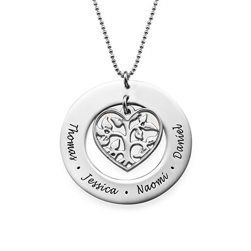 Heart Family Tree Necklace - Custom With Any Name! (18 Inches)
