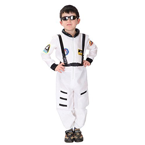 [Discoball Child Kids Astronaut Costume Spaceman Fancy Dress Outfit Uniform Halloween Cosplay Costume Spacesuit(White,M 5-6 years) by] (Spaceman Suit Costume)
