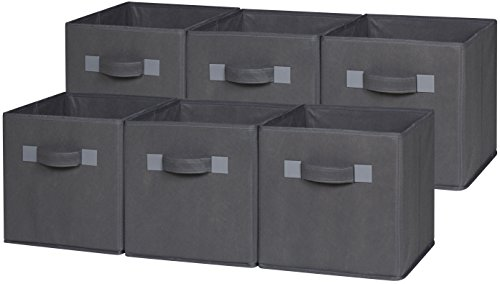 OneSpace 50-CB6P04 Foldable Cloth Storage Cube Set, 6 Pack, Grey (Foldable Drawer Storage Unit compare prices)