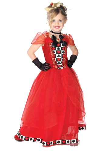 Girls Red Queen Costume - Child Large 10-12