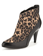 Limited Edition Pointed Toe Animal Print Ankle Boots with Insolia®