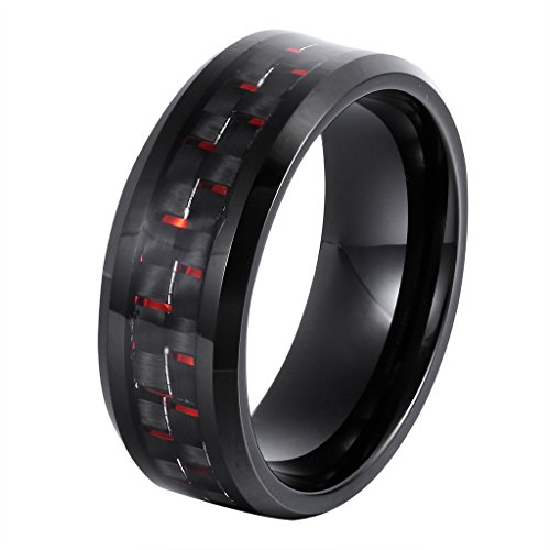 L-Ring 8MM Men's Tungsten Wedding Ring Black & Red Carbon Fiber Inlay Beveled Edges Thumb Rings, Size 7-14(10)