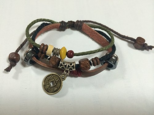 Chinese Ancient Coin Zen Bracelet Leather Bracelet Wristband - 1