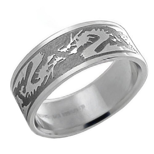 Bling Jewelry Stainless Steel Tribal Chinese Zodiac Dragon Mens Ring