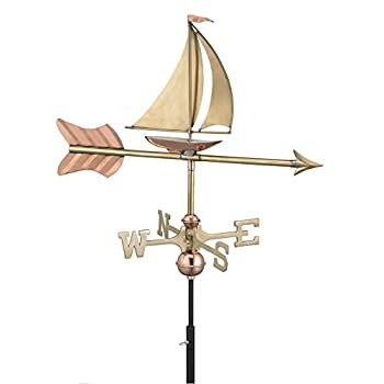 Good Directions Sailboat Cottage Weathervane with Roof Mount, Pure Copper