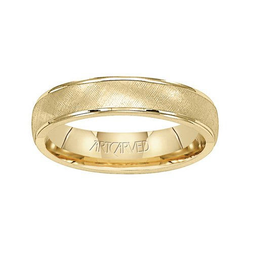 11-Wv3900 Travis Mens Yellow Gold Wedding Band 5.0Mm From Artcarved