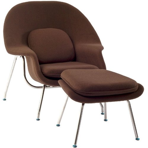 W Lounge Chair and Ottoman Set in Brown