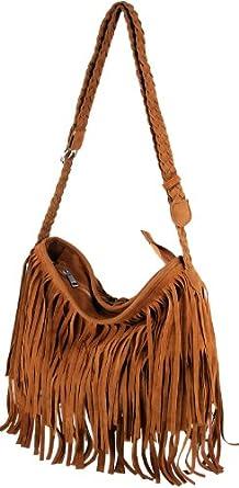 Chestnut Fashion Fringe Womens Shoulder Bag Faux Suede Handbag UK