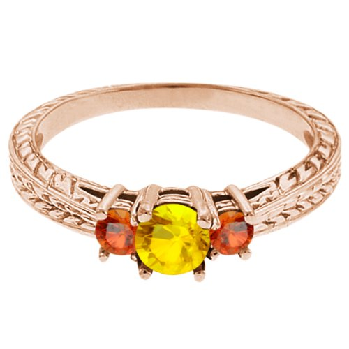 0.62 Ct Round Yellow Sapphire Orange Sapphire 18K Rose Gold 3-Stone Ring