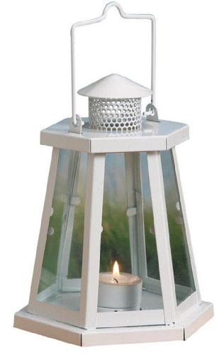 Biedermann & Sons Lighthouse Tealight Candle Holder Lantern, White, 7.75-Inch Tall