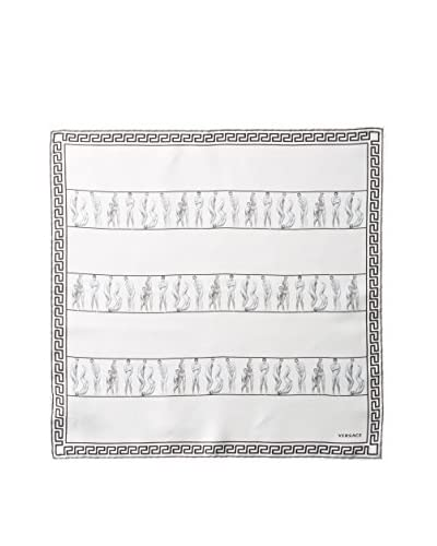 Versace Women's Patterned Silk Scarf, White/Black