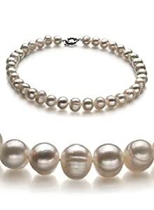 Single White 10-11mm A Quality Freshwater Pearl Necklace-16 in Chocker length