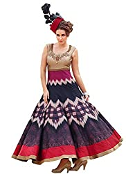 Rozdeal New Cream & Purple Pure Bhagalpuri Designer Gown