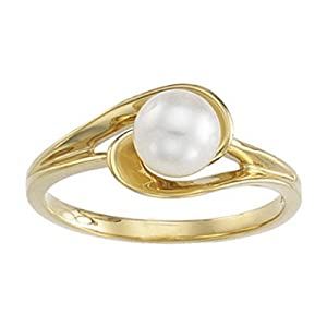 Womens Cultured Pearl Solitaire Ring - 14k Yellow Gold