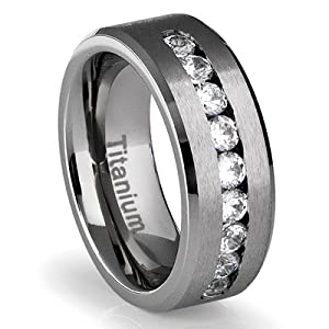 8MM Men's Titanium Ring Wedding Band with Flat Brushed Top and Channel Set CZ [Size 10] from Cavalier Jewelers