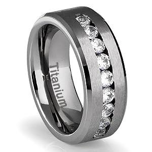 Amazon.com: 8MM Men's Titanium Ring Wedding Band with Flat ...