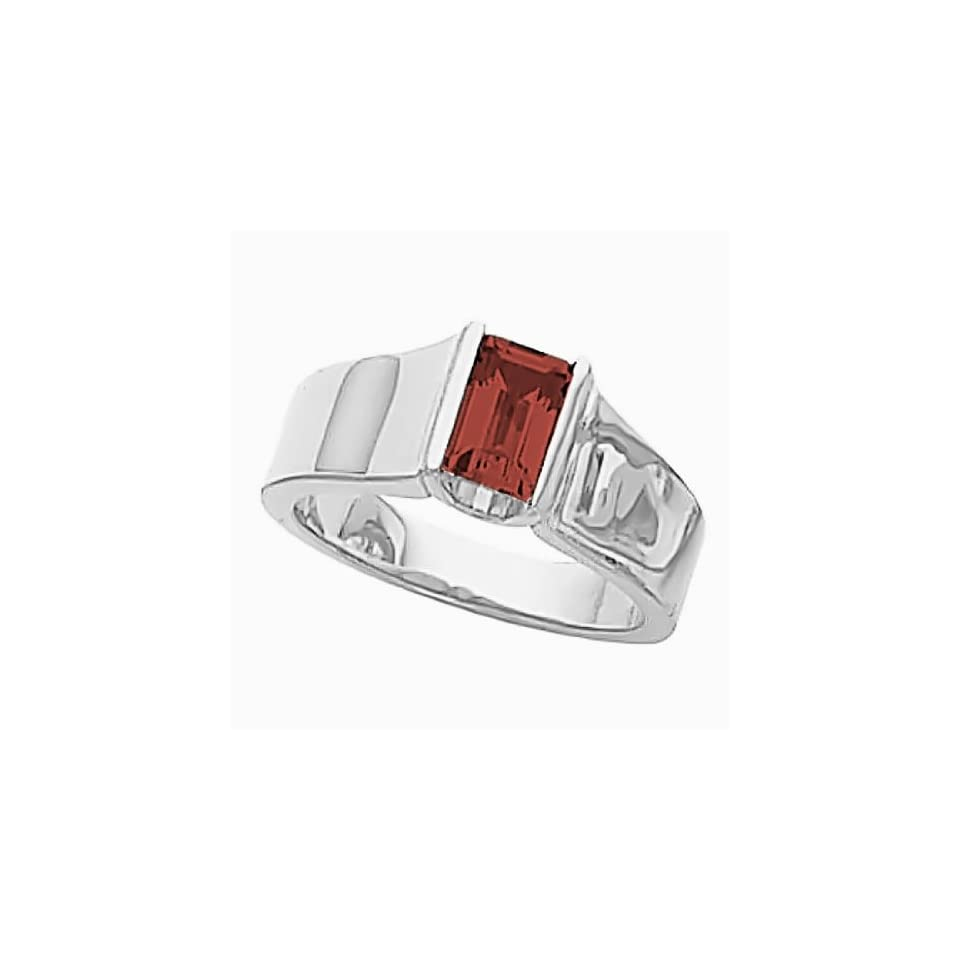 14K White Gold Mozambique Garnet Etruscan Style Ring Jewelry